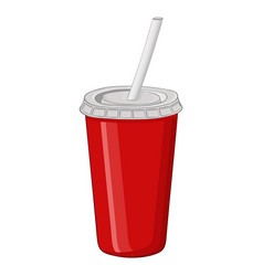 red disposable cup with drinking straw vector image