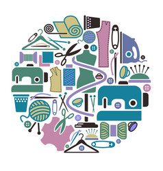sewing and needlework icons vector image