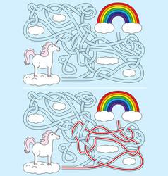unicorn maze vector image vector image