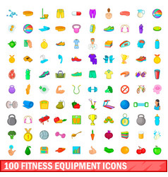 100 fitness equipment icons set cartoon style vector image