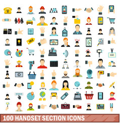 100 handset section icons set flat style vector