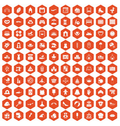 100 motherhood icons hexagon orange vector