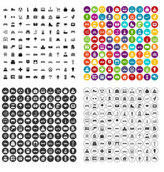 100 urban icons set variant vector