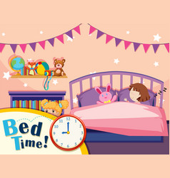 a girl sleeping in bedroom vector image