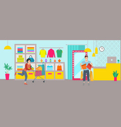 A group people are shopping in a boutique vector