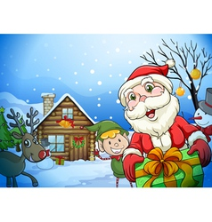 A house a santa claus and a reindeer vector