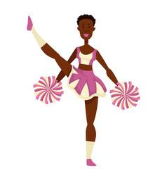African girl cheerleader with pompoms in uniform vector