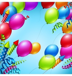 balloons in blue sky vector image
