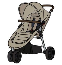 Beige sport stroller vector
