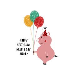 Birthday card with cute pig vector