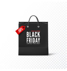 Black friday concept black paper bag with tag vector
