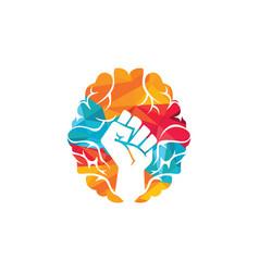 Brain fist logo design vector
