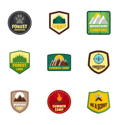 camp expedition logo emblem set flat style vector image