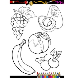 Cartoon fruits set for coloring book vector
