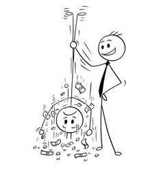 cartoon of businessman shaking out money from his vector image