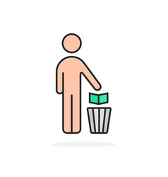 cartoon simple man and trash can vector image