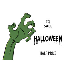 cartoon zombie hand for flyer party design vector image