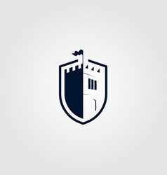 castle shield logo icon design vector image