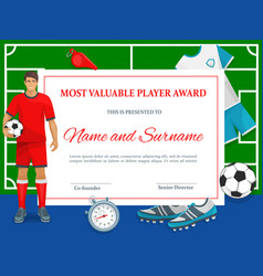 certificate for soccer most valuable player frame vector image