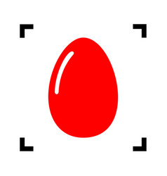 chiken egg sign red icon inside black vector image