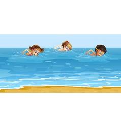 Children swimming in the ocean vector image
