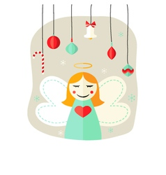 Christmas Angel Girl with Decorative Balls over vector