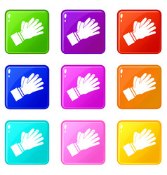 clapping applauding hands icons 9 set vector image