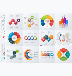 collection 12 templates for infographics vector image