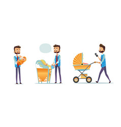 Collection of father taking care of child isolated vector