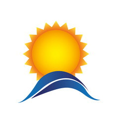 Color sun with blue mountain icon vector