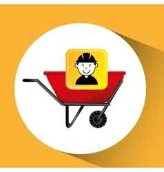 Construction worker wheelbarrow graphic vector