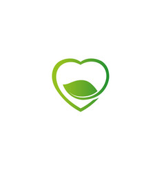 creative heart love leaf symbol logo vector image