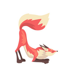 Cunning red fox character cartoon vector