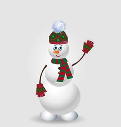 cute cartoon snowman in green knit winter vector image