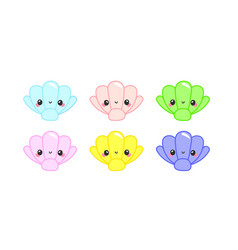 Cute shell kawaii character vector