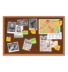 Detective board crime investigation in police vector