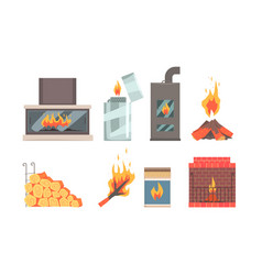 different kinds fireplaces flat vector image