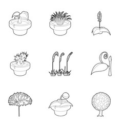different plants icons set outline style vector image