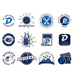 digibyte logos set digital asset concept pay vector image