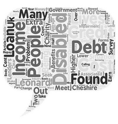 Disabled In Debt text background wordcloud concept vector image