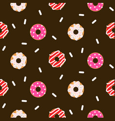donut pink glazed seamless chocolate vector image