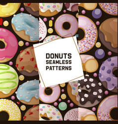 Donut seamless pattern doughnut food glazed vector