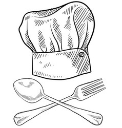 doodle chef hat fork spoon vector image
