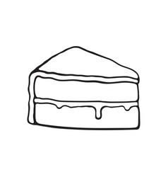 Doodle piece cake with glaze cream fondant vector
