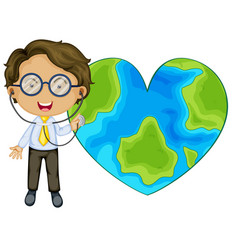 earth in heart shape with a doctor cartoon vector image