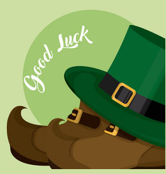 Elf hat with shoes st patricks day vector