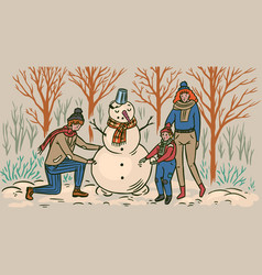 family makes a snowman for christmas mom dad vector image