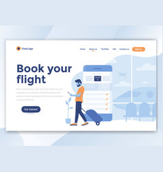 Flat modern design wesite template - book your vector