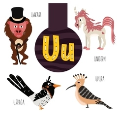 Fun animal letters of the alphabet for the vector image