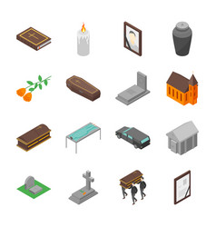 Funeral signs 3d icons set isometric view vector